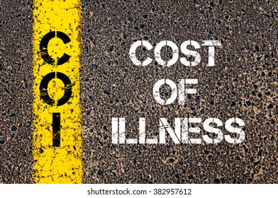 Concept image of Business Acronym COI Cost of Illness written over road marking yellow paint line
