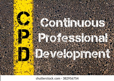 Concept image of Business Acronym CPD continuous professional development written over road marking yellow paint line