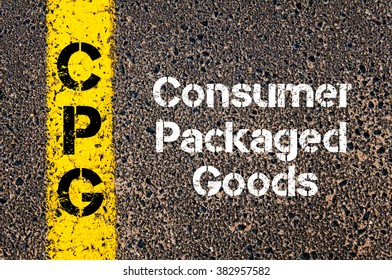 Concept image of Business Acronym CPG Consumer Packaged Goods written over road marking yellow paint line