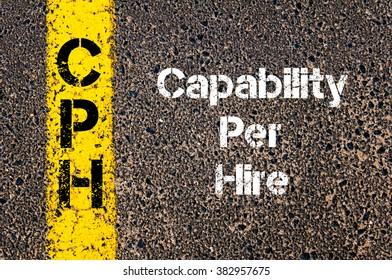 Concept image of Business Acronym CPH Capability Per Hire written over road marking yellow paint line