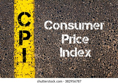 Concept image of Business Acronym CPI Consumer Price Index written over road marking yellow paint line