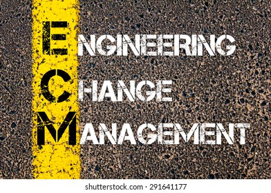 Concept image of Business Acronym ECM as Engineering Change Management written over road marking yellow paint line.