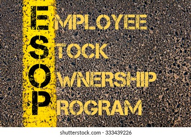 Concept image of Business Acronym ESOP as Employee Stock Ownership Program written over road marking yellow paint line.