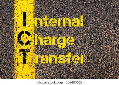 Concept image of Business Acronym ICT as Internal Charge Transfer written over road marking yellow paint line.
