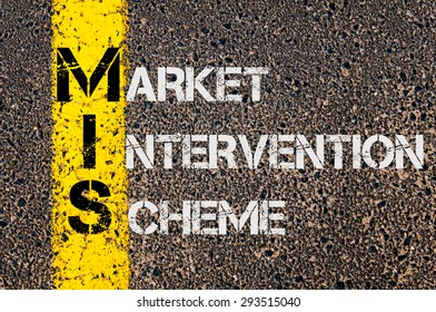 Concept image of Business Acronym MIS as Market Intervention Scheme  written over road marking yellow paint line.