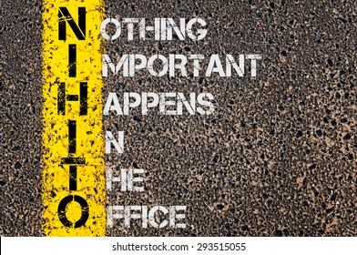 Concept image of Business Acronym NIHITO as Nothing Important Happens In The Office written over road marking yellow painted line.