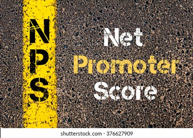 Concept image of Business Acronym NPS NET PROMOTER SCORE written over road marking yellow paint line