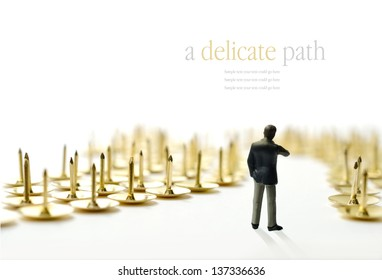 Concept image depicting a difficult or delicate journey. i.e. interview or training progress. Copy space.