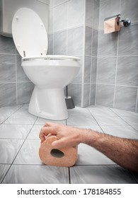 Concept image of digestive problems and difficulties in the toilet.