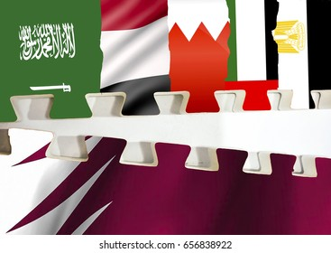concept image of few gulf cooperation countries cutting ties with qatar.  Image of flags of saudi arabia UAE bahrain egypt yemen under one group being separated qatar flag. White background.
