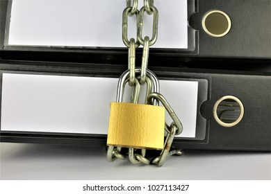 An concept Image of a Folder with chains and a lock