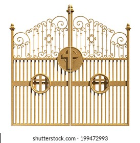 A concept image of the golden gates to heaven shut on an isolated white background