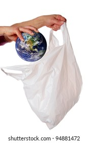Concept image to illustrate the problem of sustainability, in particular with regards to plastic bags.  Earth image provided by Nasa.