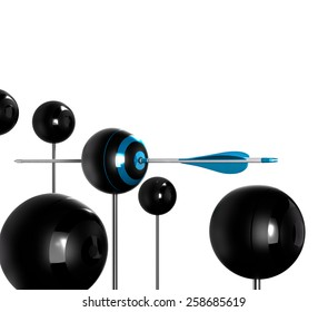 Concept image for illustration of setting goals and achieve them. Sphere targets over white background with one arrow hitting the center of the blue one