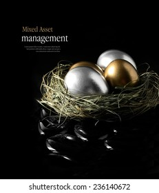 Concept image for mixed asset financial management. Mixed gold and silver goose eggs in a grass birds nest against a black background. Copy space.