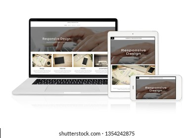 Concept image of multi device technology for responsive web design - laptop , digital tablet and smartphone in various orientation on a white background (sample web page).