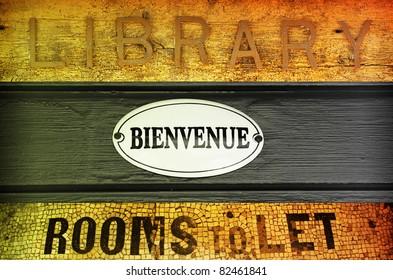 Concept image of old antique retro signage