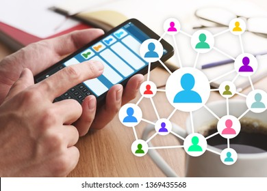 Concept image of online people network. Communication in social media. 
