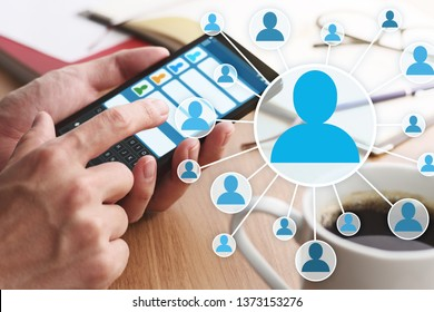 Concept image of online people network and communication. 
