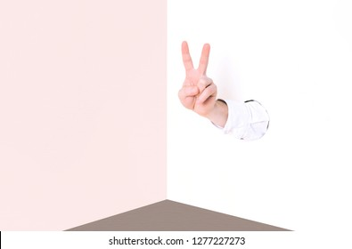 Concept image of a peace sign. Minimal art.