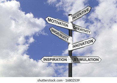 Concept image of a signpost with motivational directions.