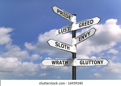Concept image of a signpost with the seven deadly sins upon the arrows.