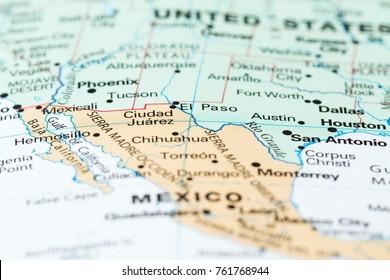 Concept image using a map focusing on the border between the USA and Mexico