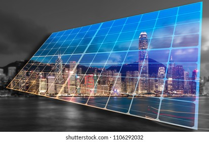Concept images of solar energy lighting up city