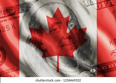 The concept of the impact of US currency on the country. One hundred dollar bill against the background of the developing flag of Canada.