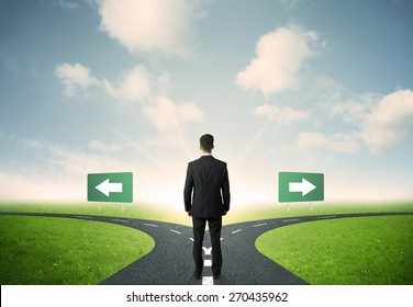 Concept of important choices of a businessman