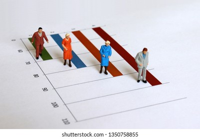 The concept of an increasing elderly population. Miniature old people walking on the graph.