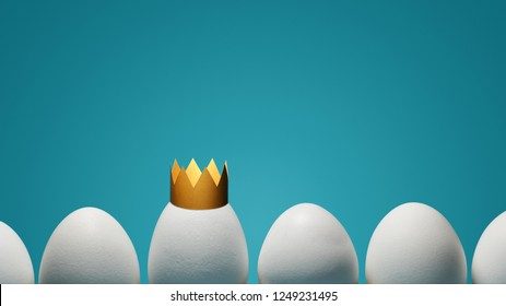 Concept of individuality, exclusivity, better choice. One white egg with golden crown among white eggs on blue background.