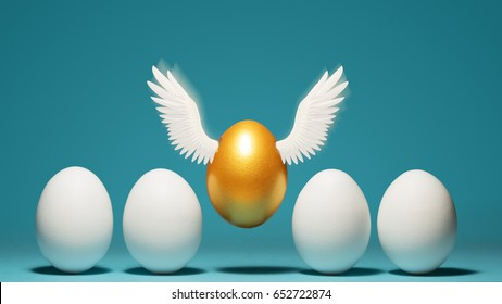 Concept of individuality, exclusivity, better choice. Golden egg takes off, waving its wings, among white eggs on blue background.