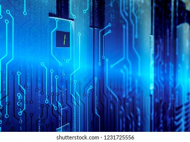 concept of information technology and communications, the display of the supercommitter with the number 1 as an indicator of availability of information and download among the binary code and blur