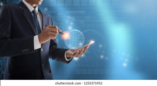 concept of innovation and technology, Business person working with modern virtual technology.