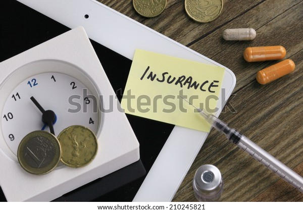 concept of insurance, with money, clock and medicine in the background