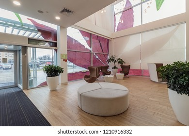 Concept interior. Architectural sales office. Interior of a sales office for a urban residential construction project. Moscow - 2018