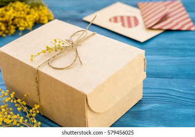 concept International Women Day with flowers wooden background