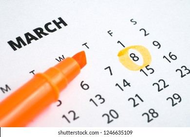 The concept of international women's day. The eighth of March is marked on the calendar 2019 with an orange marker.