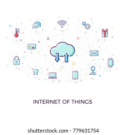 Concept Internet of things. Cloud network concept for connected smart devices. illustration of IoT and network connections icons on white background