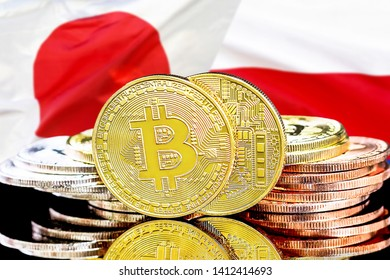 Concept for investors in cryptocurrency and Blockchain technology in the Poland and Japan. Bitcoins on the background of the flag Poland and Japan.