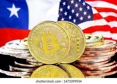 Concept for investors in cryptocurrency and Blockchain technology in the Chile and United States of America. Bitcoins on the background of the flag Chile and US.
