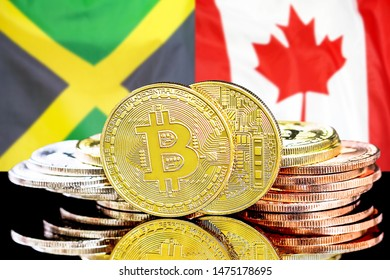 Concept for investors in cryptocurrency and Blockchain technology in the Jamaica and Canada. Bitcoins on the background of the flag Jamaica and Canada.
