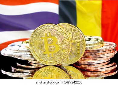 Concept for investors in cryptocurrency and Blockchain technology in the Belgium and Thailand. Bitcoins on the background of the flag Belgium and Thailand.