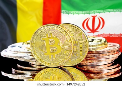 Concept for investors in cryptocurrency and Blockchain technology in the Belgium and Iran. Bitcoins on the background of the flag Belgium and Iran.