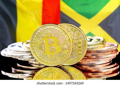 Concept for investors in cryptocurrency and Blockchain technology in the Belgium and Jamaica. Bitcoins on the background of the flag Belgium and Jamaica.