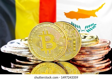 Concept for investors in cryptocurrency and Blockchain technology in the Belgium and Cyprus. Bitcoins on the background of the flag Belgium and Cyprus.