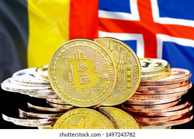 Concept for investors in cryptocurrency and Blockchain technology in the Belgium and Iceland. Bitcoins on the background of the flag Belgium and Iceland.