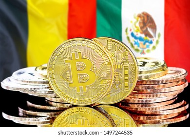 Concept for investors in cryptocurrency and Blockchain technology in the Belgium and Mexico. Bitcoins on the background of the flag Belgium and Mexico.