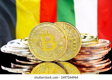 Concept for investors in cryptocurrency and Blockchain technology in the Belgium and Italy. Bitcoins on the background of the flag Belgium and Italy.